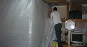 Installing Vapor Barrier For Mold Cleanup Job